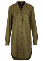 Rag & Bone Mason Olive Cupro Blend Shirt Dress