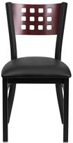 Lomonaco Upholstered Side Chair Winston Porter Color: Mahogany/ Black Vinyl Seat