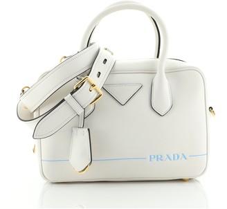 Prada Logo Convertible Bowling Bag Printed Leather Medium