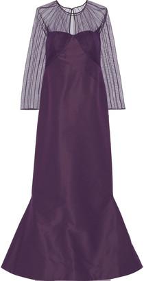 Zac Posen Pintucked Tulle And Duchesse Silk-satin Gown
