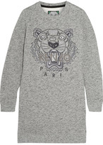 Kenzo Tiger-embroidered Cotton Sweatshirt Mini Dress - Gray