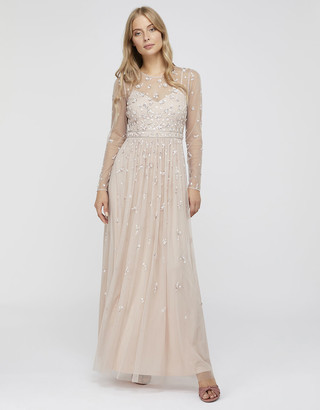 Monsoon Selina Long Sleeve Sequin Floral Maxi Dress Pink