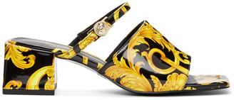 Versace Jeans Couture Black Barocco Twiggy Mules
