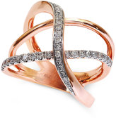 Effy Modern Pavé-Set Diamond Ring (3/8 ct. t.w.) in 14k Rose Gold