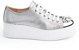 7b08ef7299e8 Miu Miu Women's Embellished Cap-Toe Metallic Leather Platform Sneakers