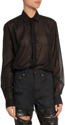 Saint Laurent Sequined Sheer Button-Front Shirt