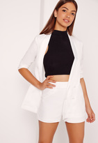 Missguided High Waisted Crepe Shorts White