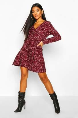 boohoo Splodge Print Wrap Skater Dress