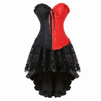 jutrisujo Corset Dress for Women Plus Size Bustier top Skirt Set Sexy Burlesque Halloween Black and red XL