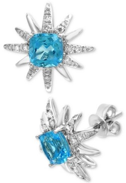 Effy Blue Topaz (2-7/8 ct. t.w.) & Diamond (1/3 ct. t.w.) Starburst Stud Earrings in 14k White Gold