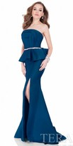 Terani Couture Strapless Draped Peplum Gown
