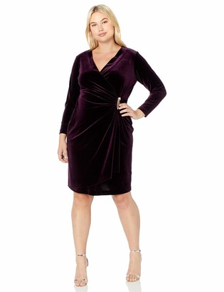 Calvin Klein Women's Size Velvet Long Sleeve Faux Wrap Dress