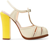 Fendi Perforated And Lizard-effect Leather Mary Jane Pumps - Off-white