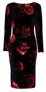 Dorothy Perkins Womens **Lily & Franc Multi Colour Rose Print Manipulated Bodycon Dress