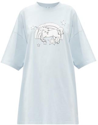 Vetements Magic Unicorn-print Cotton-jersey T-shirt - Light Blue