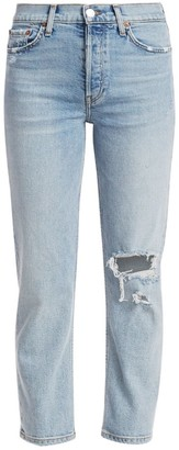 RE/DONE High-Rise Distressed Stovepipe Jeans