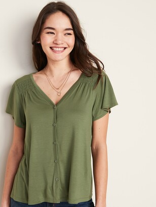 Old Navy V-Neck Button-Front Jersey-Knit Top for Women