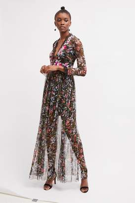 French Connection Flori Embroidered Floral Maxi Dress