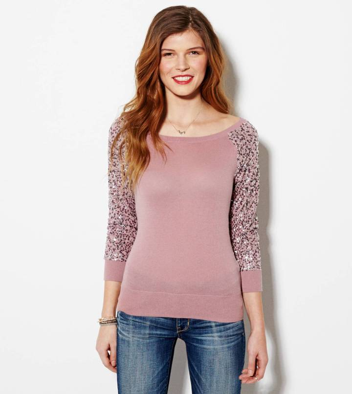 American Eagle AE Sequin Sleeve Sweater