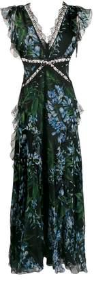 Blumarine floral-print lace detail dress