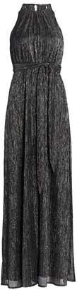 Halston Metallic Jersey Halter Gown