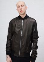 Rick Owens Black Leather Raglan Bomber