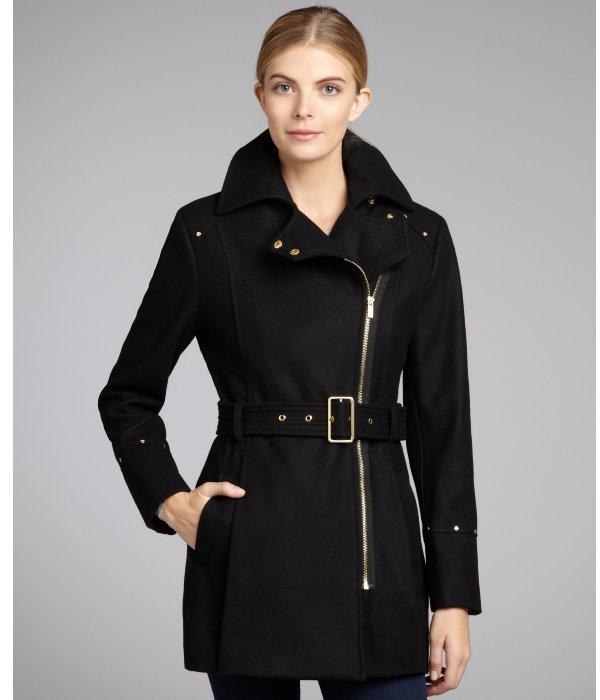 Kenneth Cole New York black wool blend asymmetrica zip belted coat