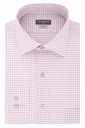 Van Heusen Men's Flex Regular Fit Check Spread Collar Dress Shirt
