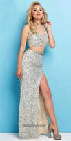 Mac Duggal Sequined A Line Two Piece Prom Dress