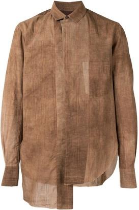 Ziggy Chen Asymmetric-Hem Long-Sleeve Tonal Shirt