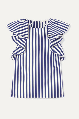 Jason Wu Collection - Ruffled Striped Cotton-poplin Top - Navy