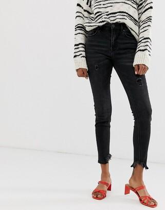 Stradivarius high waist skinny jeans in black wash
