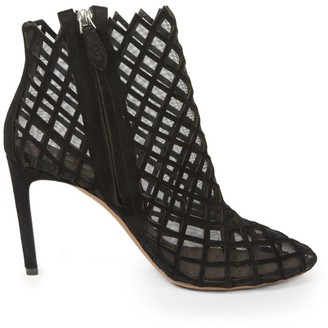 Alaia Cage Leather Ankle Boots