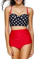 Spring fever High Waist Polka Dot Print Bikini Tribal Ladies Retro Swimsuit Set
