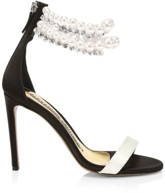 Alexandre Vauthier Faux Pearl- & Crystal-Embellished Satin Sandals
