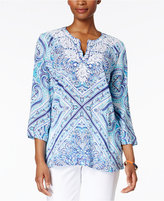 Charter Club Petite Cotton Embroidered Printed Tunic, Only at Macy's