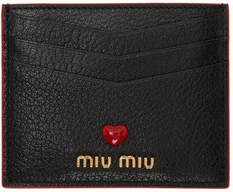 Miu Miu Black Leather Love Card Holder
