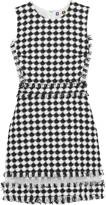 MSGM Organza-paneled tweed mini dress