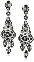 Miguel Ases Jet and Sterling Silver Grand Eye Earrings