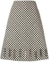 Bottega Veneta eyelet checked skirt