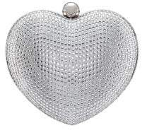Nina Armorie Crystal Embellished Heart Minaudiere Clutch