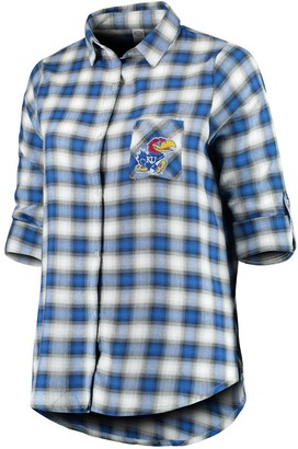 Unbranded Women's Plus Size Concepts Sport Royal/Black Kansas Jayhawks Forge Rayon Flannel Long Sleeve Button-Up Shirt