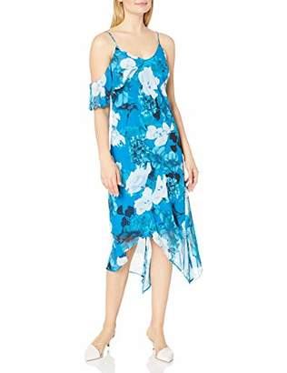 Vince Camuto Women's Sleeveless Asymmetric Ruffled Melody Floral Dress