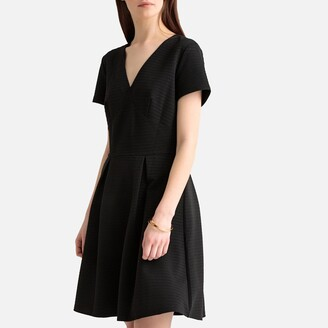 La Redoute Collections Polka Dot Jacquard Flared Dress