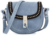 Altuzarra Ghianda Studded Suede Saddle Mini Bag, Denim