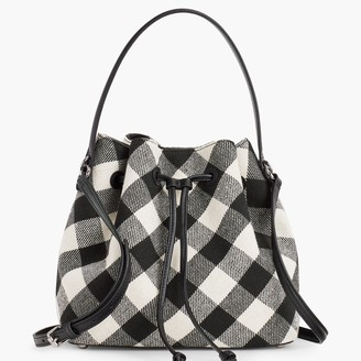 Talbots Buffalo Plaid Drawstring Bucket Bag