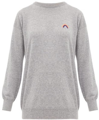Queene and Belle Rainbow-embroidered Cashmere Sweater - Womens - Light Grey