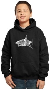 La Pop Art Boy's Word Art Hoodies - Species of Shark