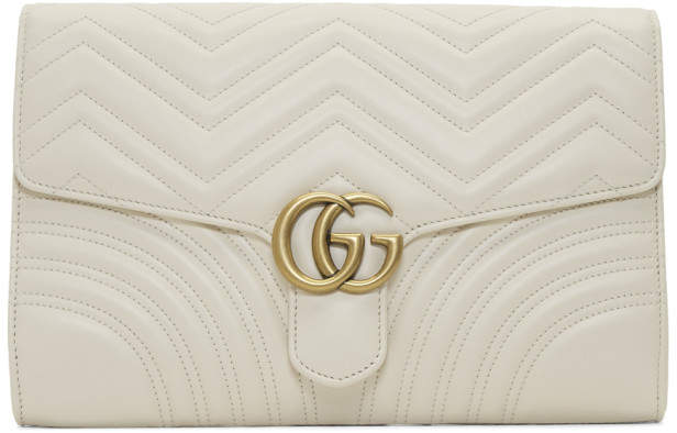 Gucci White Medium GG Marmont 2.0 Clutch