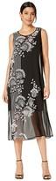 Vince Camuto Sleeveless Ornate Melody Chiffon Overlay Dress (Rich Black) Women's Dress